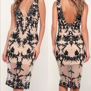 BARDOT Black & Nude Floral Embroidered MIDI Dress NWT